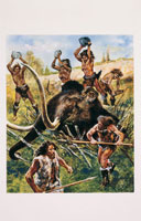neolithic people hunting an elephant