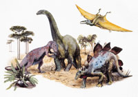 Close up of a painting of dinosaurs