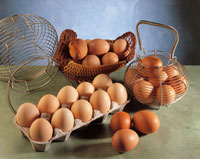 eggs in baskets and a carton