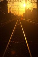 夕日に輝く線路