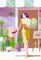 花屋と女性イメージ イラスト