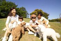 公園の芝生で犬と遊ぶ家族