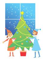 クリスマスツリーと2人の少女 イラスト