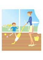 掃除機で掃除をする母と男の子 イラスト