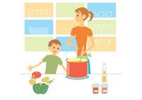 料理をする母と男の子 イラスト