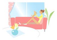 ソファーで犬と遊ぶ女性 イラスト