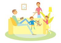 一家団欒の家族と犬 イラスト