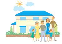 家の前の三世代家族 イラスト 22933001329| 写真素材・ストックフォト・画像・イラスト素材|アマナイメージズ