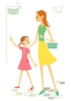 買い物に行く母と女の子 イラスト