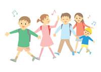 登校中の子供達 イラスト