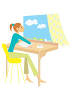 窓辺の女性 イラスト 22933001335| 写真素材・ストックフォト・画像・イラスト素材|アマナイメージズ