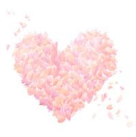 花びらで作ったピンクのハート