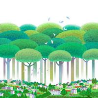新緑の樹木と街並