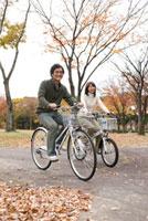 秋の公園を自転車で走る夫婦 22933002729  写真素材・ストックフォト・画像・イラスト素材 アマナイメージズ
