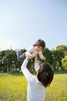 菜の花畑で娘を抱き上げる母親