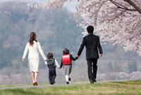 新一年生と新幼稚園児と両親