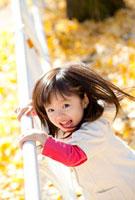 イチョウの落葉の上で柵につかまる女の子
