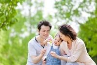 新緑の公園でタンポポを持って遊ぶ3人家族 22946002922| 写真素材・ストックフォト・画像・イラスト素材|アマナイメージズ