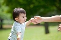 公園で母親に手をとられて歩こうとする男の子