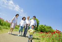 花の咲く公園を歩く3世代家族