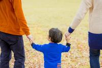 落葉の公園を手をつないで歩く親子の後ろ姿 22946004598| 写真素材・ストックフォト・画像・イラスト素材|アマナイメージズ