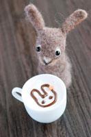 フェルト製のウサギとココア 22950000023| 写真素材・ストックフォト・画像・イラスト素材|アマナイメージズ