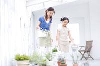 ガーデニングをする母親と女の子