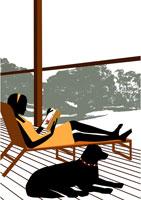 テラスで読書する女性と犬 イラスト