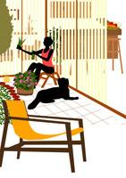 ガーデニングを愉しむ女性と犬 イラスト