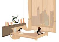 ベッドで読書をする女性 イラスト