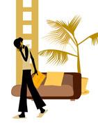 リビングで電話をする女性 イラスト