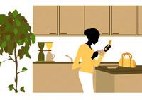 キッチンで朝のひとときを過ごす女性 イラスト 22987000008| 写真素材・ストックフォト・画像・イラスト素材|アマナイメージズ