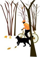 樹木の中を自転車で走る女性と犬 イラスト
