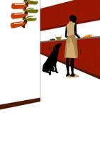 キッチンに立つ女性と犬 イラスト