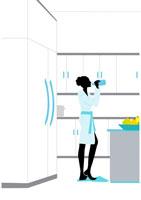 バスローブでミネラルウォーターを飲む女性 イラスト 22987000012| 写真素材・ストックフォト・画像・イラスト素材|アマナイメージズ