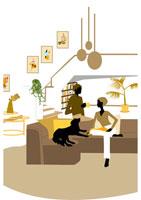 リビングで犬とくつろぐ男女 イラスト 22987000018| 写真素材・ストックフォト・画像・イラスト素材|アマナイメージズ