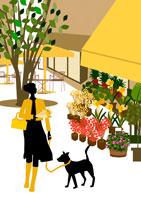 花屋の前で犬をつれた女性 イラスト 22987000033| 写真素材・ストックフォト・画像・イラスト素材|アマナイメージズ