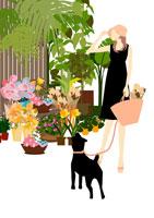 散歩の途中で花屋による女性 イラスト