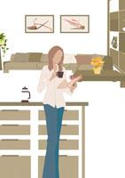 家でのひとときを愉しむ女性 イラスト