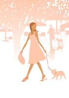 公園を犬と散歩する女性 イラスト 22987000049| 写真素材・ストックフォト・画像・イラスト素材|アマナイメージズ