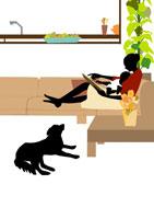 ソファで本を読み聞かせる母親 イラスト 22987000050| 写真素材・ストックフォト・画像・イラスト素材|アマナイメージズ