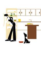 冷蔵庫をのぞく女性と犬 22987000055| 写真素材・ストックフォト・画像・イラスト素材|アマナイメージズ