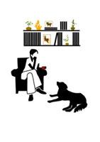 ソファでくつろぐ女性と犬 22987000057| 写真素材・ストックフォト・画像・イラスト素材|アマナイメージズ