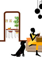 読書する女性とその傍らにいる犬 22987000067| 写真素材・ストックフォト・画像・イラスト素材|アマナイメージズ
