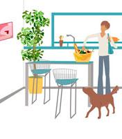 買い物籠をテーブルに置く女性 22987000071| 写真素材・ストックフォト・画像・イラスト素材|アマナイメージズ