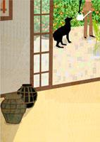 テラスにいる女性と犬