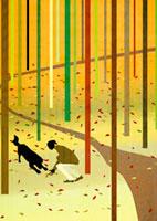 樹木の中にいる女性と犬