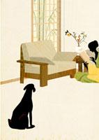 読書をする女性と犬 22987000082| 写真素材・ストックフォト・画像・イラスト素材|アマナイメージズ
