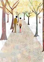 並木道を歩くカップル