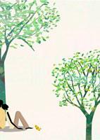 樹木の下に座るカップル